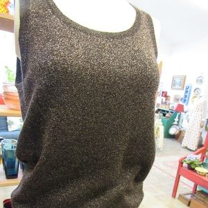 Bronze Sparkly Short Sleeve Knit Sweater